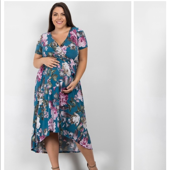 faa20dfd7808f Blue Floral Hi-Low Maternity Dress by Pink Blush. M_5b43d5ac2e1478d4fda792d8